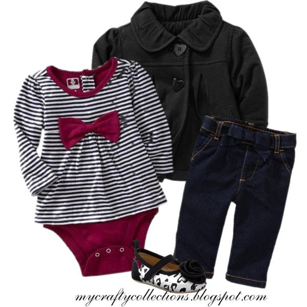 Baby Girl Outfit Pea Coat, Top, Jeans, and flats., created