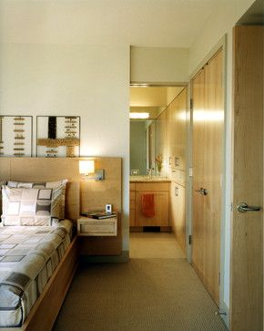 Bryant Residence 07 - contemporary - Bedroom - Seattle - Michael Knowles, Architect.  Bed with side tables attached.