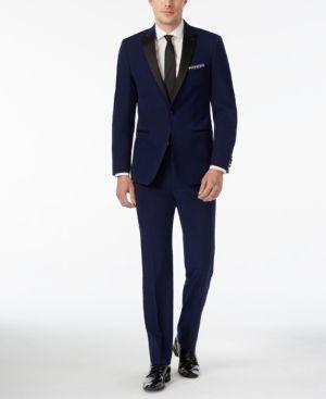 Calvin Klein Blue with Black Peak Lapel Extra Slim-Fit Tuxedo - Blue 40R