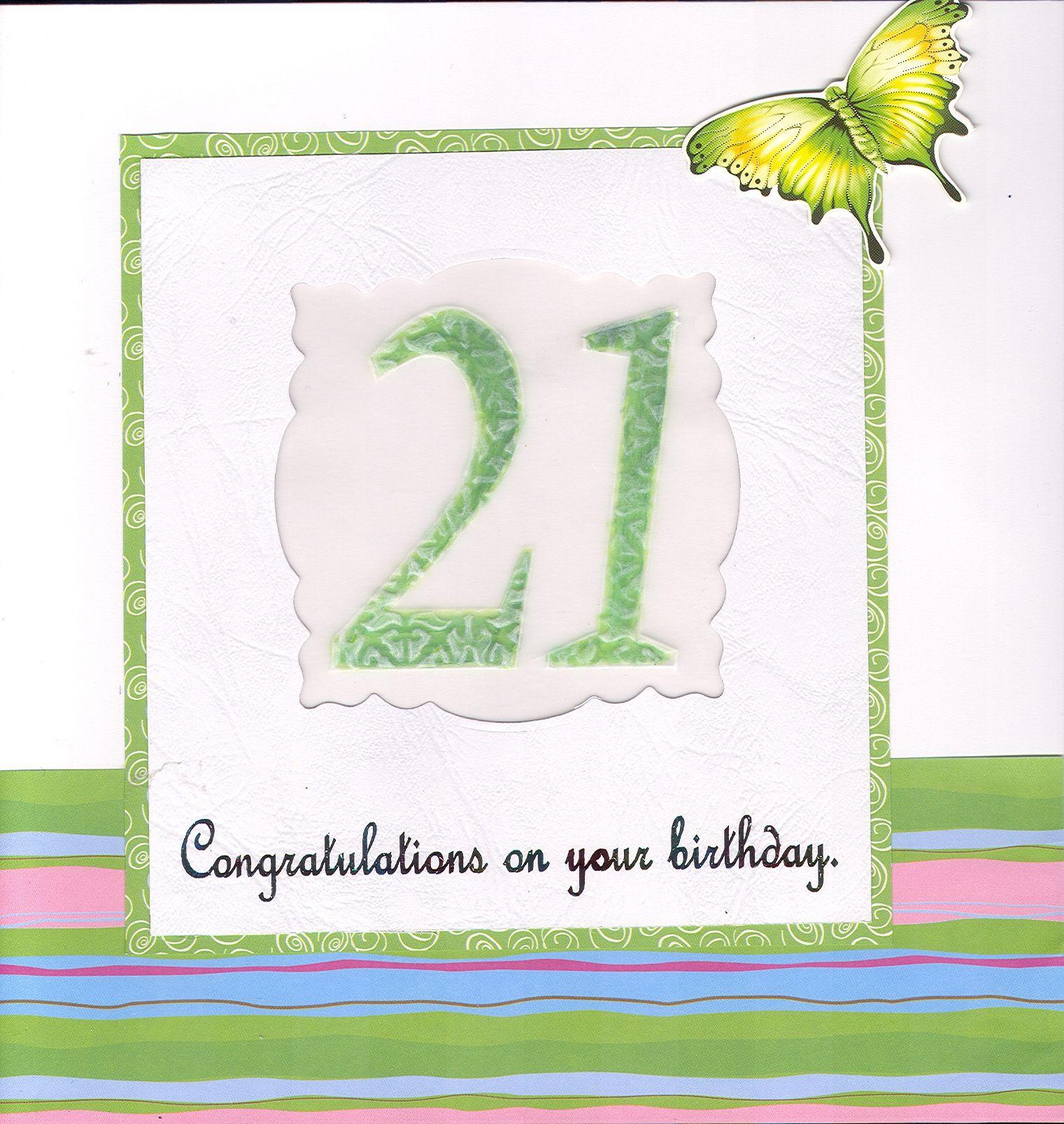 Lyn's work.  21st Birthday card.  Vellum, hot foil text, die cut window.