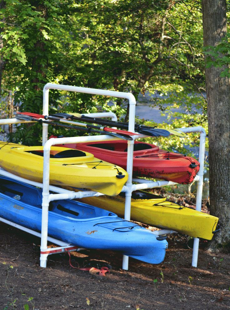 Constructed Of 2 Quot Pvc For Weight Support This Stand Was Built To Kayak Storage Rack Kayak Storage Kayak Rack