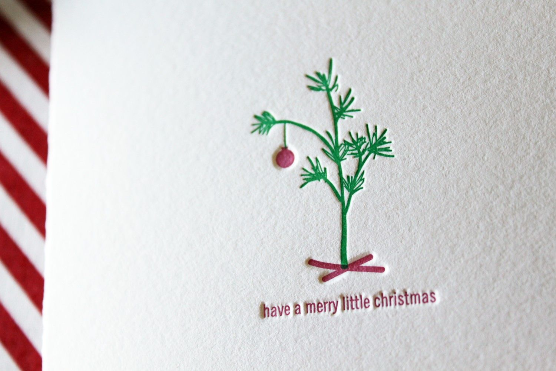 Merry Little Christmas Letterpress Cards. Set of 6. $16.00, via Etsy.