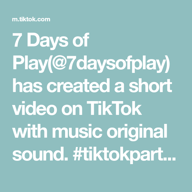 7 Days Of Play 7daysofplay Has Created A Short Video On Tiktok With Music Original Sound Tikto Sensory Play Toddlers Fun Indoor Activities Science For Kids