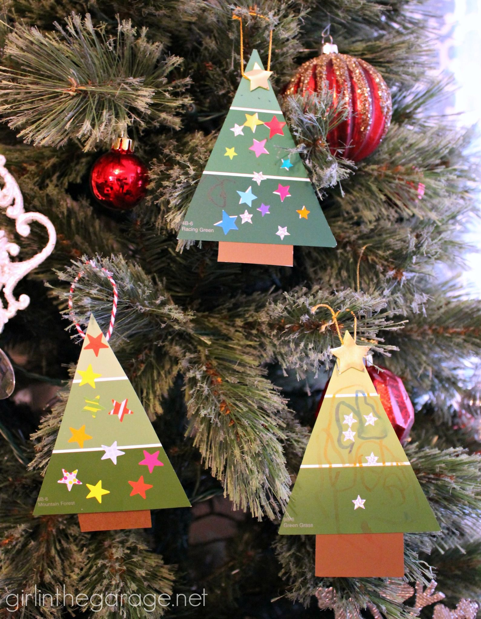 Easy Paint Chip Christmas Tree Ornament Diy Christmas Ornaments Easy Diy Christmas Tree Ornaments Diy Christmas Ornaments