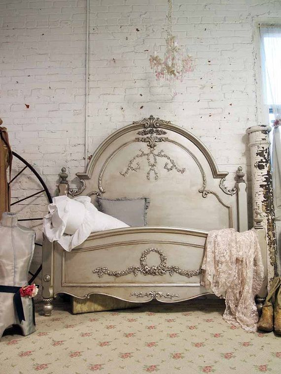 Painted Cottage Chic Shabby Queen / King Bed BD20B in 2018 | My