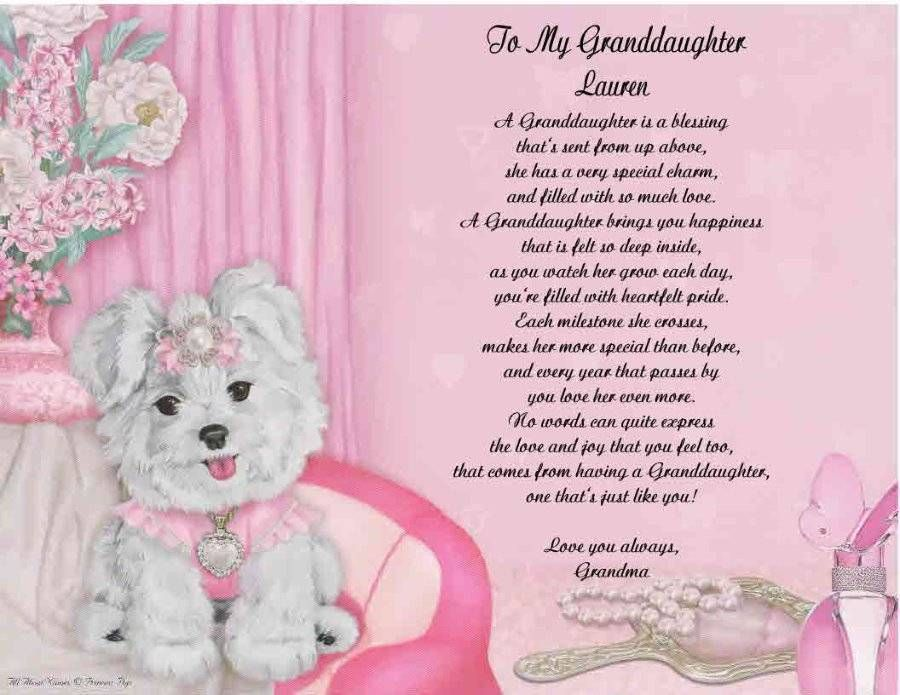 Granddaughter Personalized Poem Gift For Birthday Or Christmas Ebay Nana Poems Valentines Day Poems Christmas Card Verses