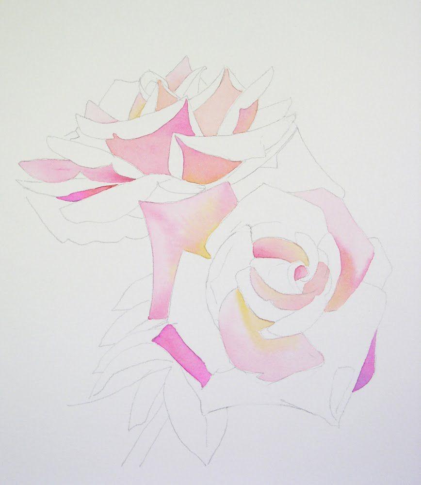 Pas A Pas Aquarelle Les Roses Reveuses De B Fox Comment
