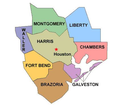 Houston Texas Counties Map