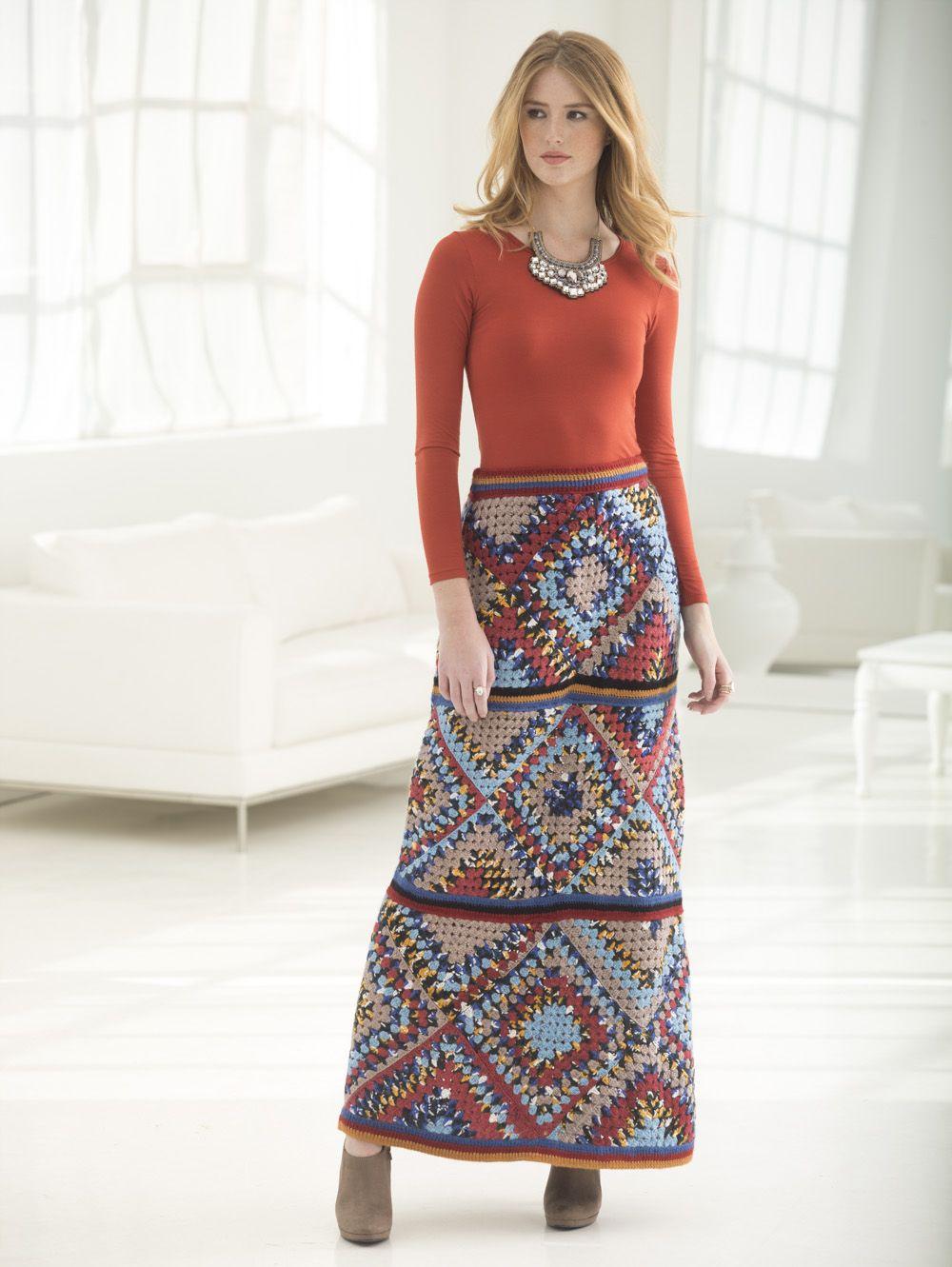 Free Crochet Pattern L40606 Granny Square Skirt : Lion Brand Yarn ...