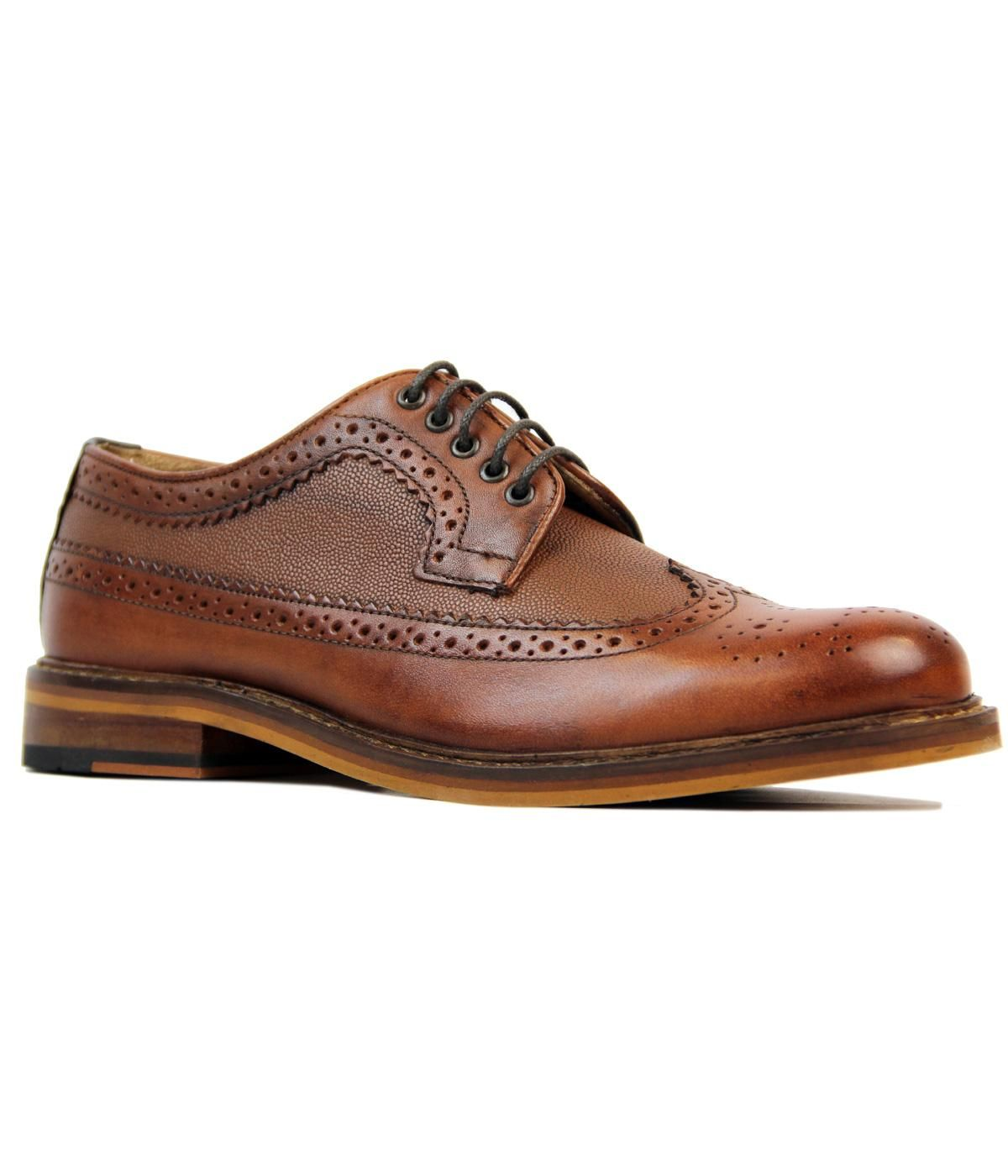 Brand Ben Sherman Key Points Ben Sherman Deon Longwing waxy leather brogues
