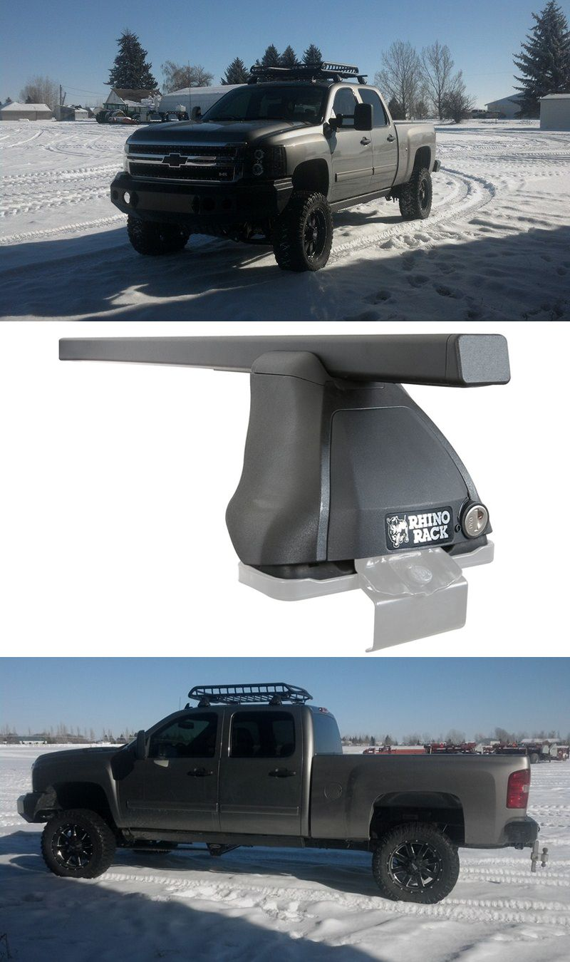 Black lightweight aluminum crossbars paired with rhino rack 2500 series legs to make a roof