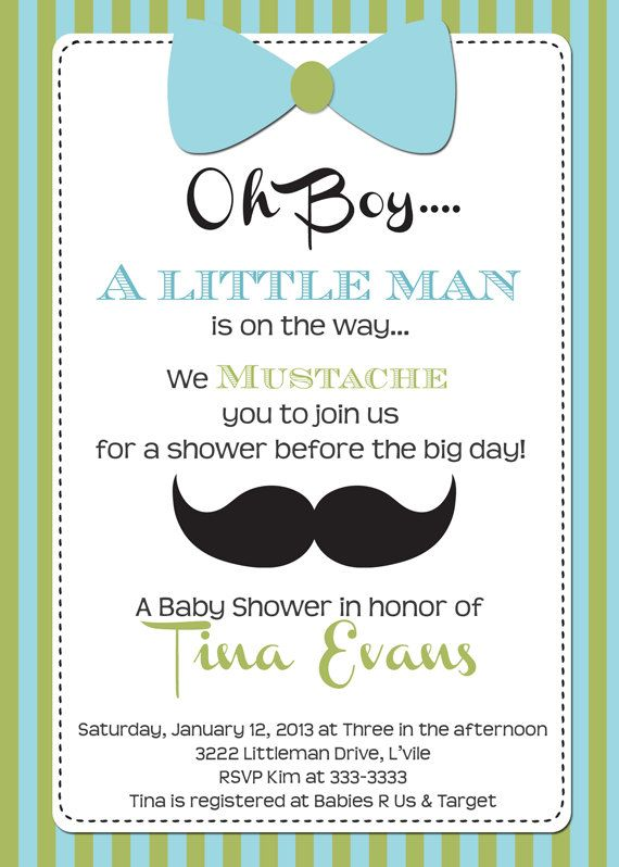 Little Man Baby Shower Invitation Mustache And Bow Tie Baby