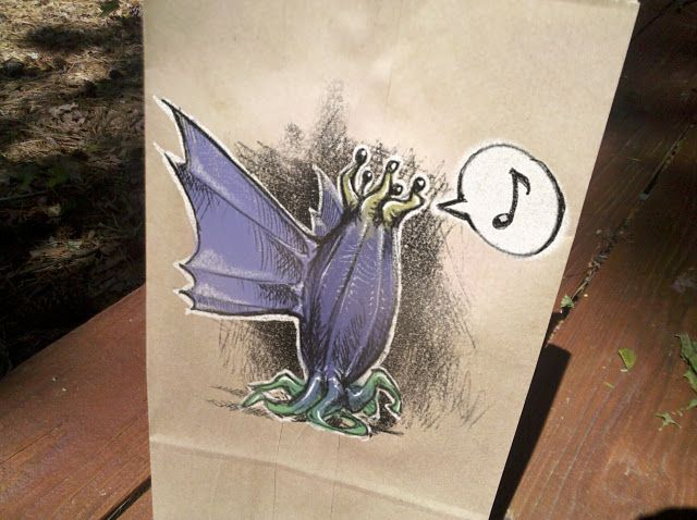 Best dad ever draws Elder Thing on kid's lunch sack. It's never too early to introduce the little ones to the Mythos. #lovecraft