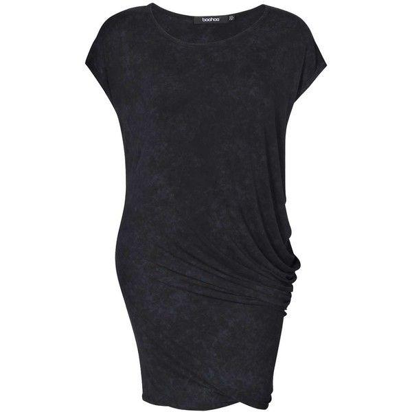 Boohoo Plus Grace Drape Snow Wash Oversized Tshirt Dress ($26) ❤ liked on Polyvore featuring dresses, t shirt dress, oversized t shirt dress, rayon dress, drapey dress and tee shirt dress