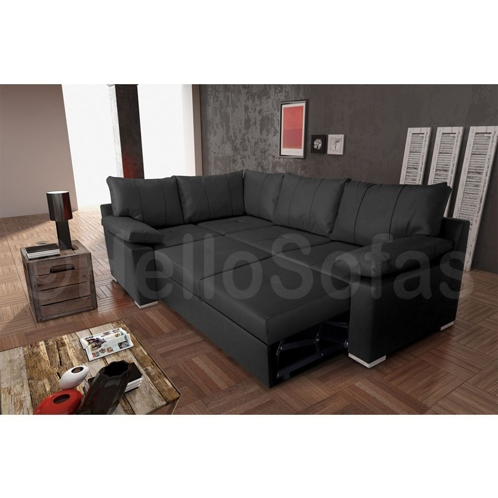 Details about Vault Black Leather Corner Sofa Bed With Pull ...