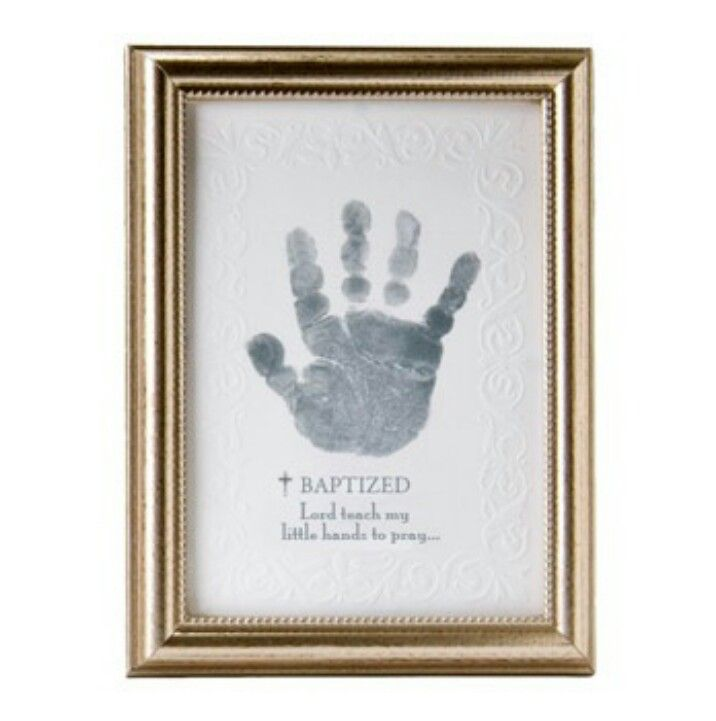 Gift idea for godparents - thank you for teaching my little hands to pray - not such an ugly frame maybe on canvas?