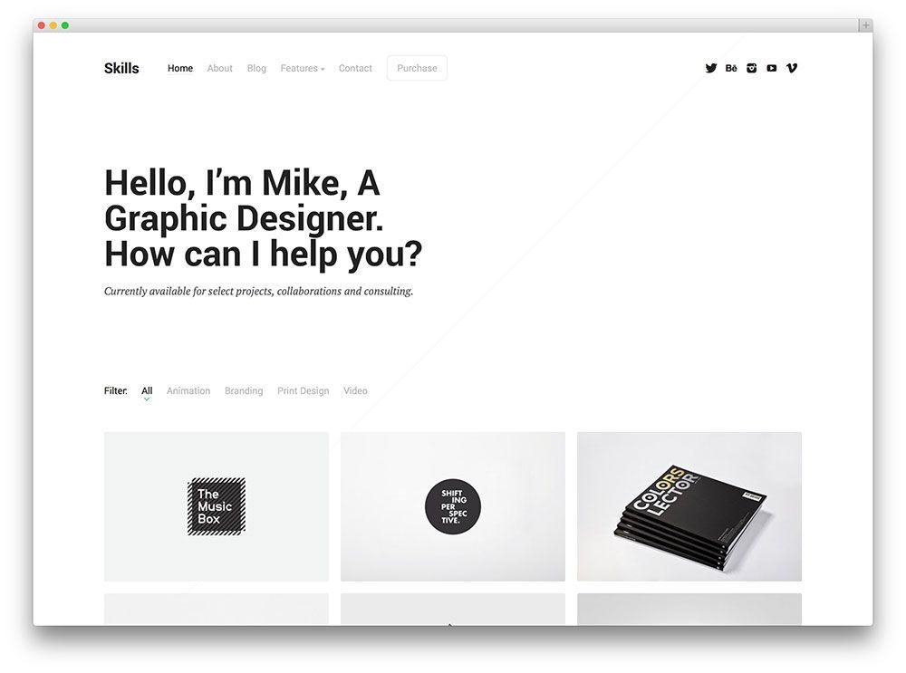 28 Brilliant Wordpress Themes For Designers 2020 Colorlib Minimal Web Design Web Design Wordpress Theme