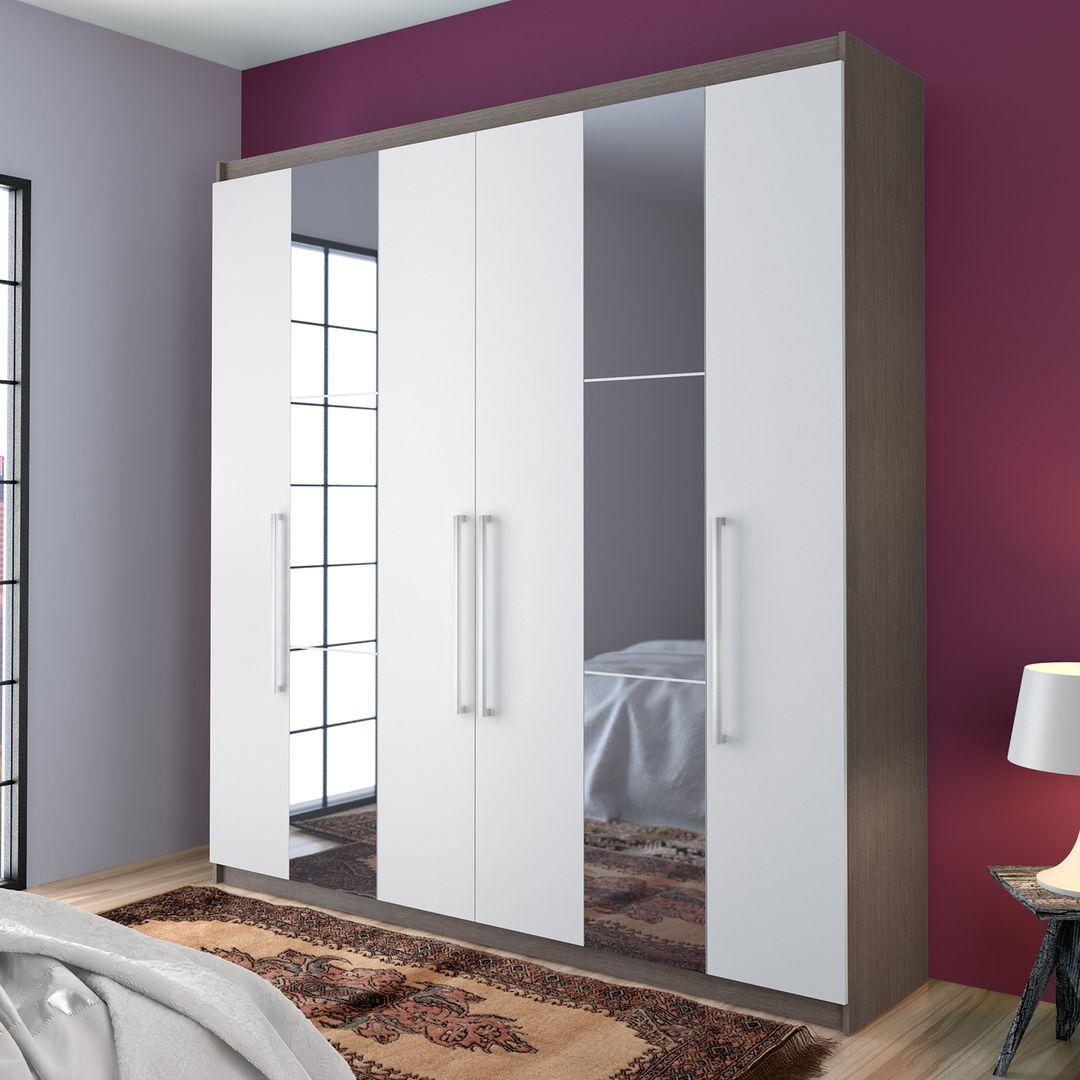 Para deixar a decoração do quarto ainda mais elegante, aposte no guarda-roupa de tom neutro com espelhos.