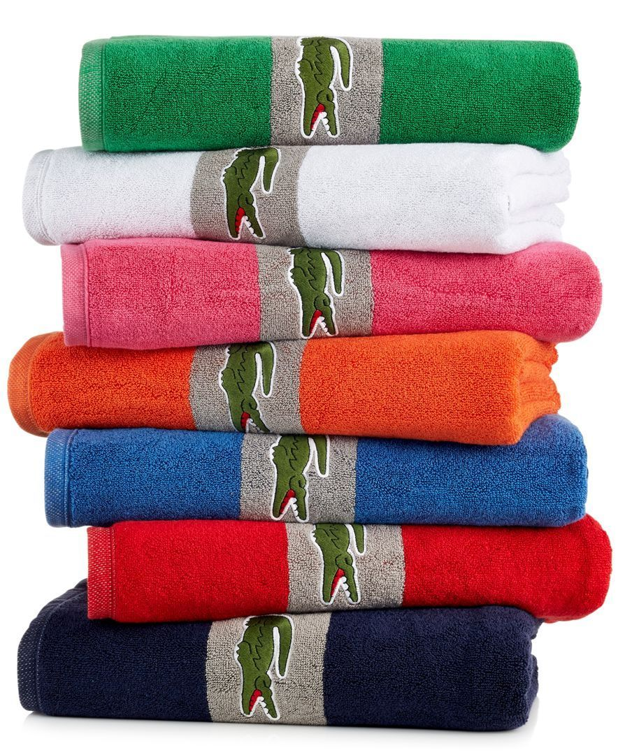Lacoste Signature Croc 13 X 13 Washcloth Towel Collection Towel Striped Towels