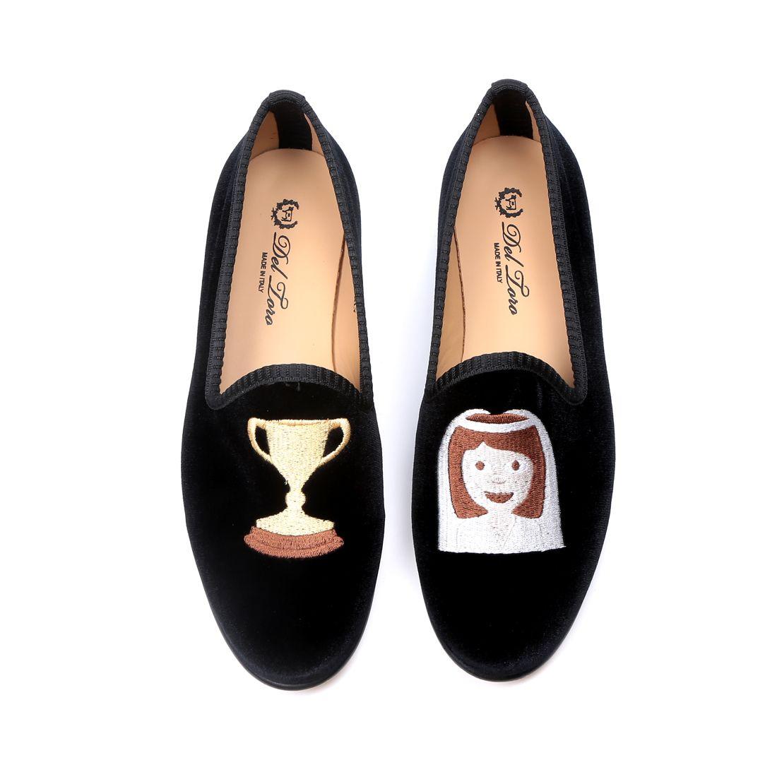 Women's Black Velvet Slipper With #TrophyWife Embroidery - Del Toro Shoes
