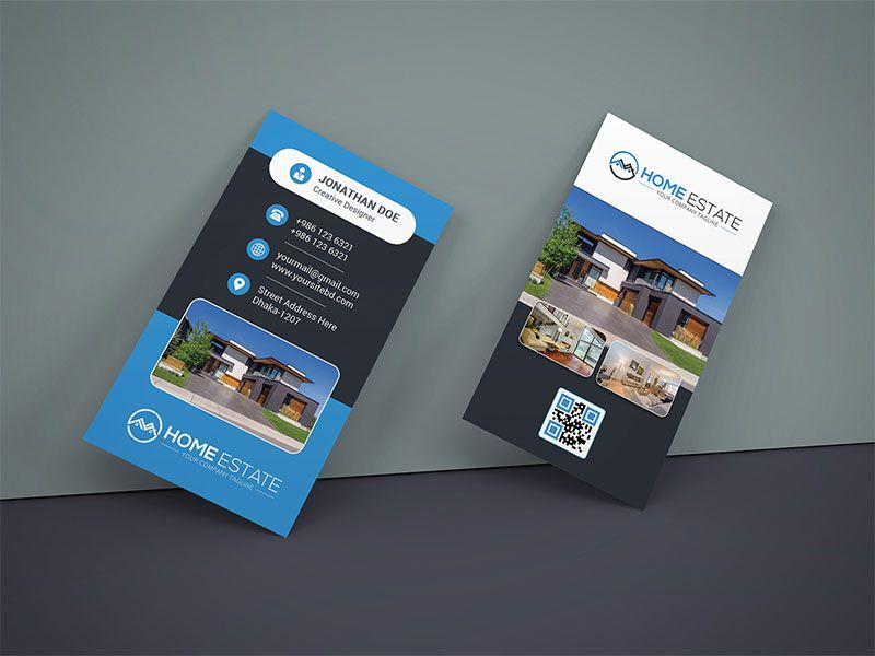 Real Estate Business Card Design | Business Card Mockup PSD ...