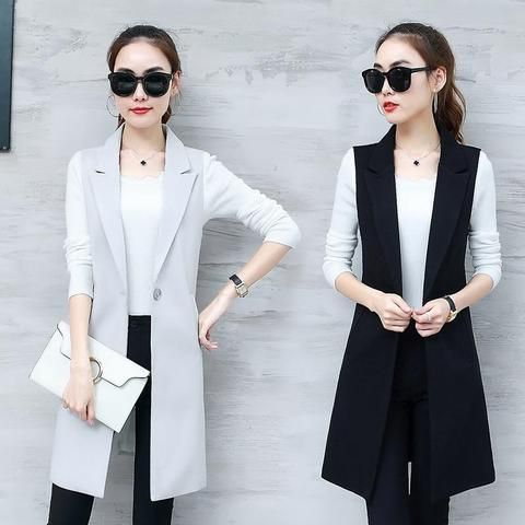 Elegant Suit Vest Women Spring Summer Sleeveless Long Vest Jacket Colete  Plus Size 3XL Blazer Vest Coat Women Waistcoat C4202 d2b0a4ff7