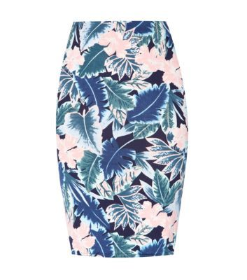 It's all about vibrant #tropical prints this spring summer - pair this #pencilskirt with a #pastel pink blouse and #mint green wedges to finish. #newlookfashion #skirt