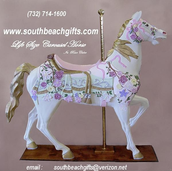 Pink Carousel Horse In Rose Pastel Colors Full Size Life