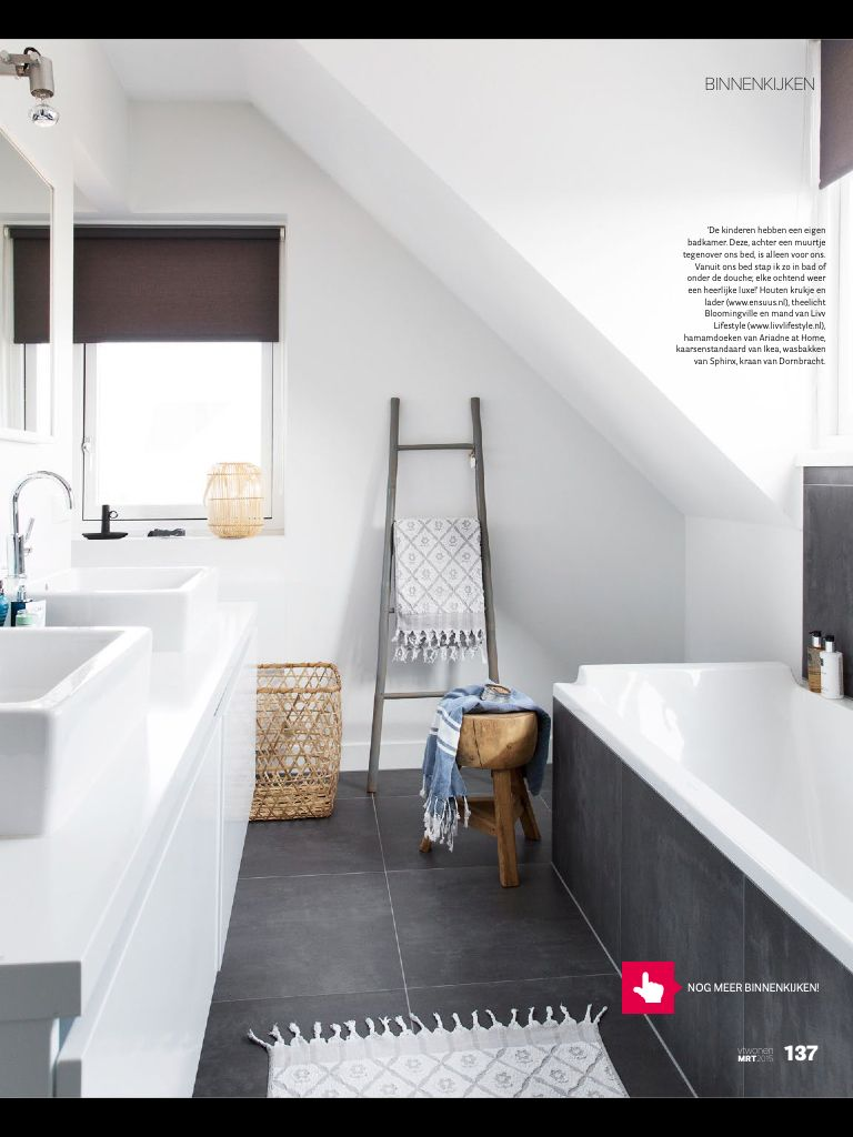 Badkamer wit met grijze tegels | Badezimmer | Pinterest