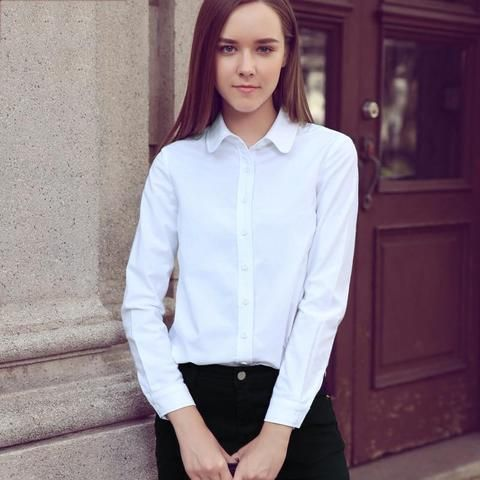Alifestyle Women Shirts Blouses Female Classic Simple Oxford Cotton Long  Sleeve Shirt Lady Casual Style High Quality White Shirt f4a9c6049bf4