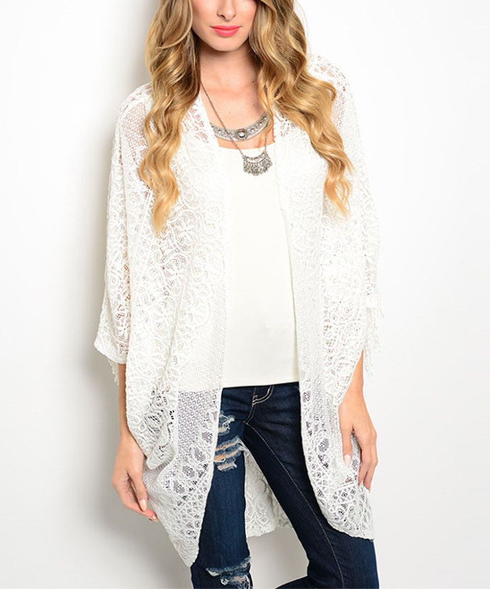 Look what I found on #zulily! White Crochet Open Cardigan by Shop ...