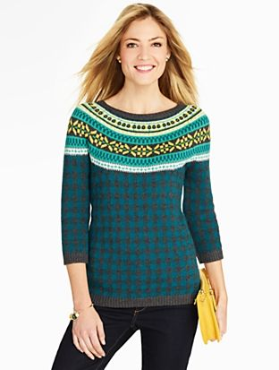 Talbots - Fair Isle and Check Sweater   Clothing   Pinterest ...