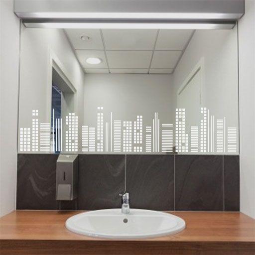elegante skyline geomtrico de vinilo translcido perfecto para decorar espejos ventanas mamparas