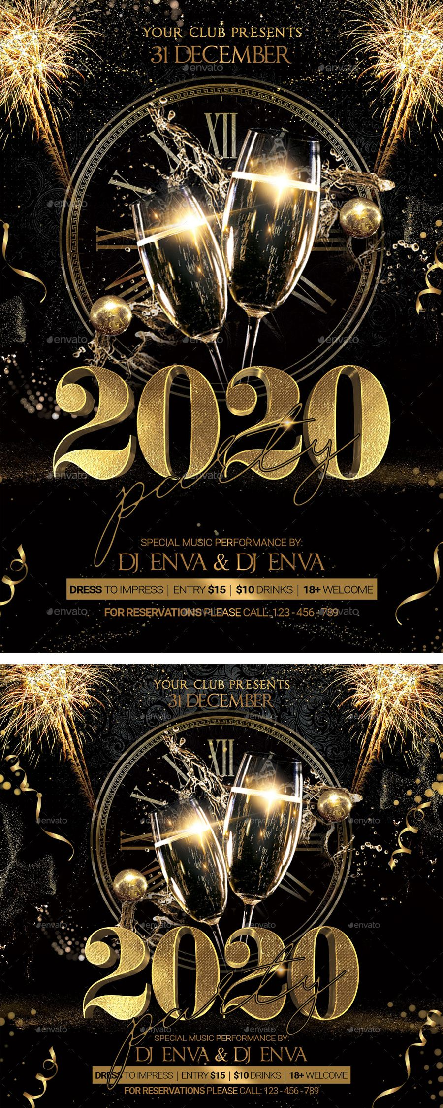 New Year 2020 Flyer Template PSD 2 Size Flyer template
