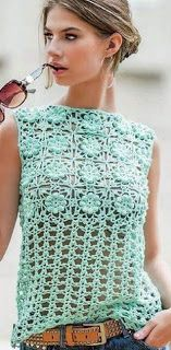 Tina's handicraft : crochet blouses with square flowers motifs