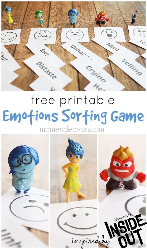 free printable emotions sorting game inspired by disney pixars inside out a great - Disney Free Kids Games