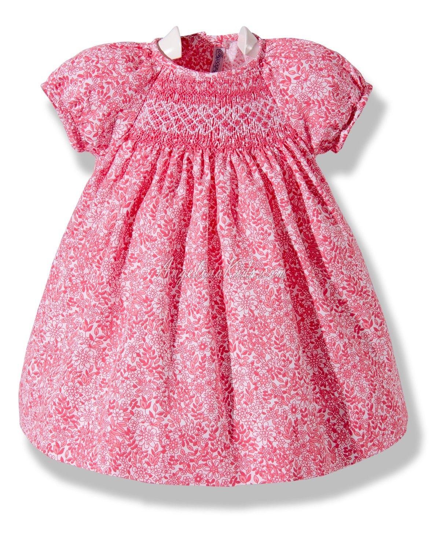 932693db8 Vestido de bebé de flores rojas bordado en punto Smock