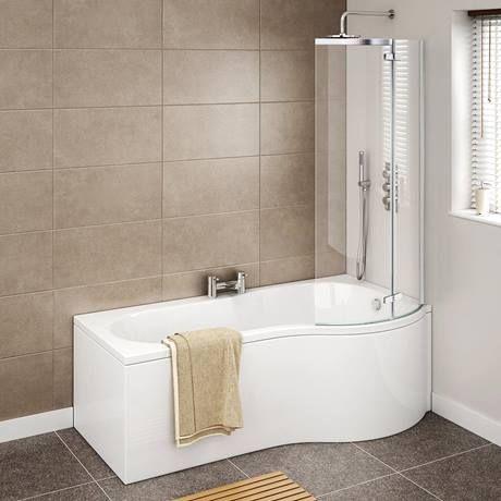 Hinged Screen Cruze P Shaped Shower Bath
