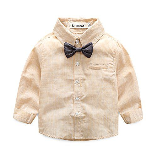 80433286d Kimocat Baby Boy Shirt and Tie Sets Long Sleeve Woven Top+ Bowknot+ ...