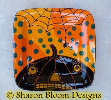 halloween ceramic square plate pumpkin jack o lantern spider by sharon bloom - Halloween Ceramic Plates