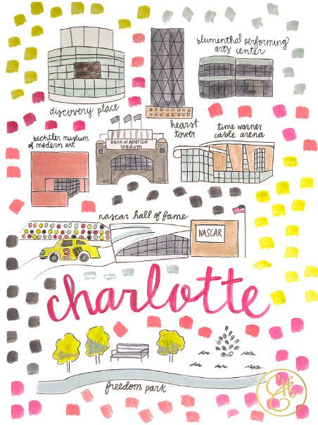 Charlotte Map Print – Evelyn Henson | Here, There & Everywhere | Map ...