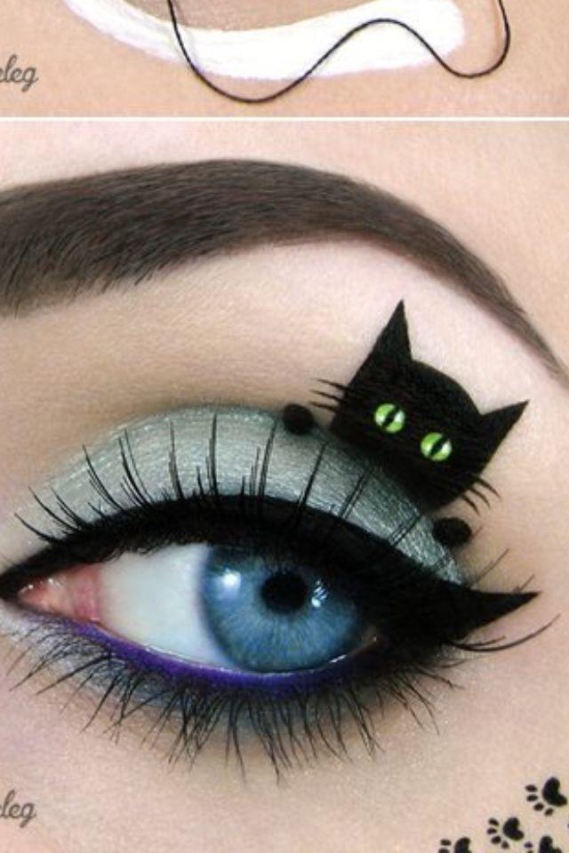 Cat Art On Eyes Halloween Eye Makeup Makeup Amazing Halloween