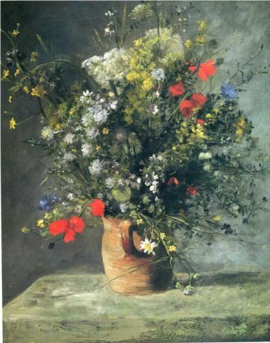 Flowers in a Vase - Pierre-Auguste Renoir Peinture Pinterest