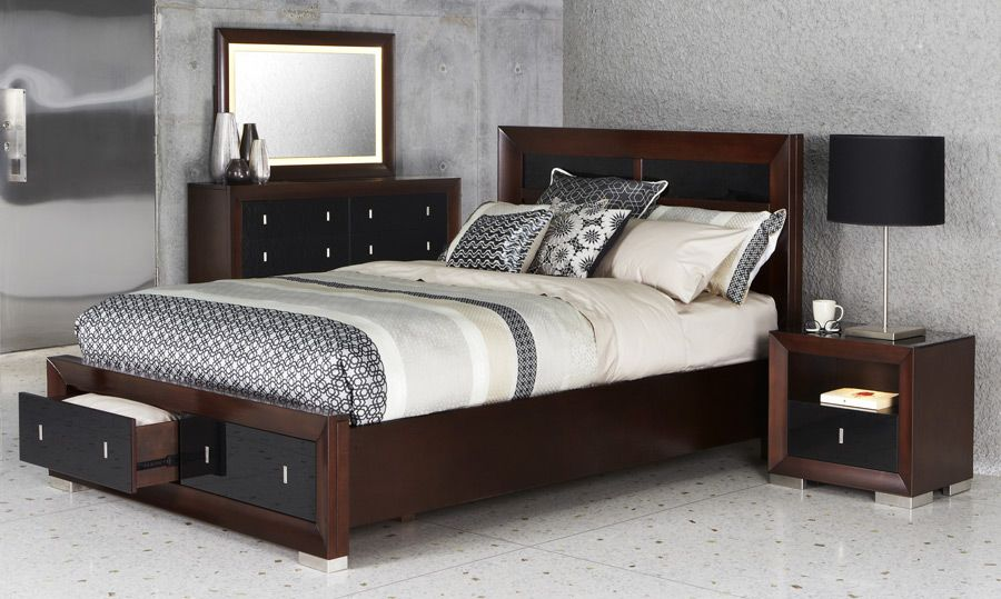 Reflections Bed Suite Sumptuous Mahogany Look And Black Glass Inserts Available With Matching
