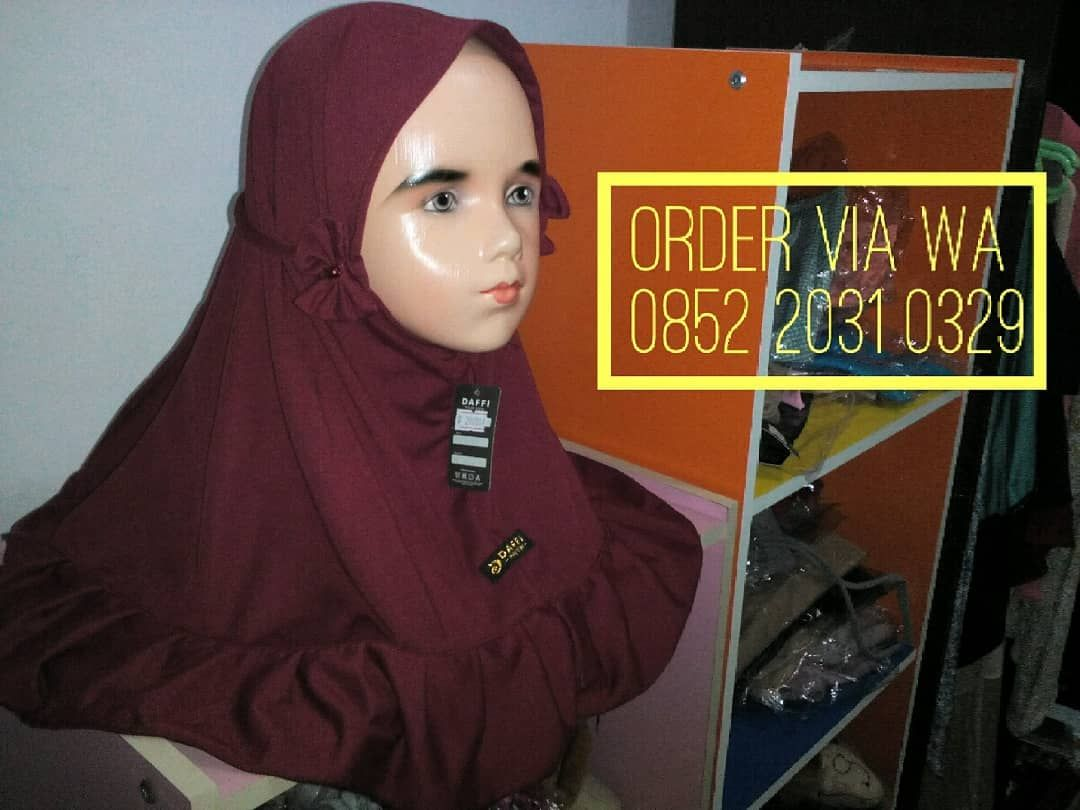 Jilbab Anak Instan Model Rempel Tali Pita Samping Kanan Kiri Depan Bahan Kaos Warna Merah Marun Harga 29rb 3 Order 6285220310329