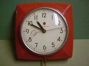 Vintage GE General Electric Red Kitchen Wall Clock Epicure 2H20 1948 1953 |  EBay