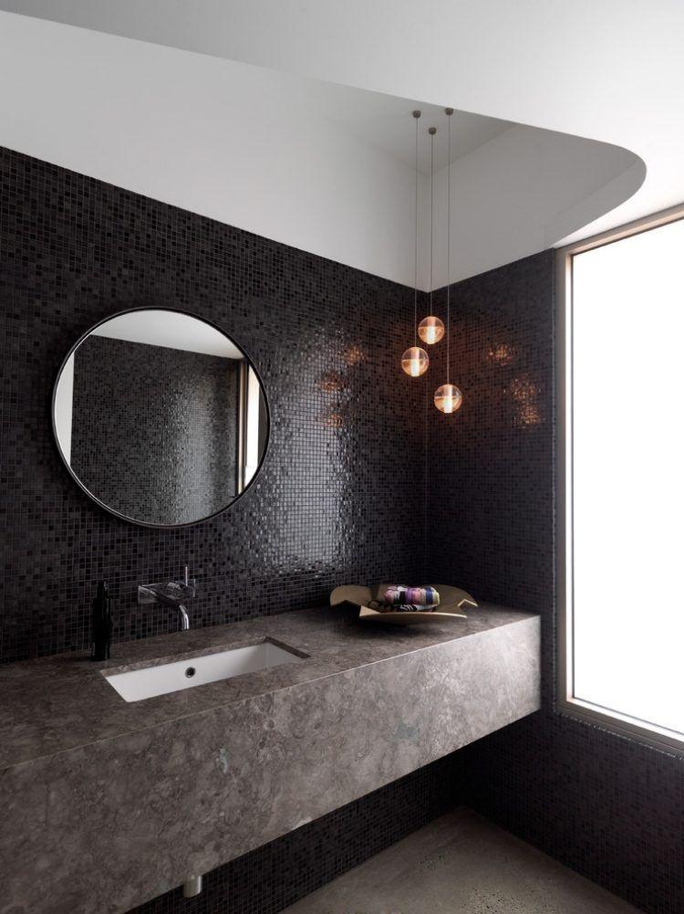 schwarze Mosaikfliesen an der Wand und Waschtisch in Steinoptik - moderne fliesen 2015