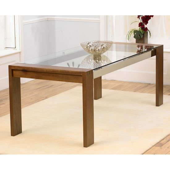 Arturo 200cm Walnut Glass Top Dining Table Only Mesas De Comedor