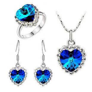 Beautiful jewelry crystal jewelry Necklace + Earrings Ring Three-piece suit Crystal Jewelry sets