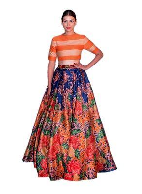 af5dcc88577 Orange banglori satin semi-stitched lehenga choli   Orange Lehenga ...